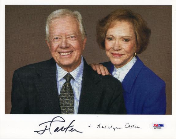 JIMMY+ROSALYNN CARTER HAND SIGNED 8x10 COLOR PHOTO      RARE     FULL PSA LETTER