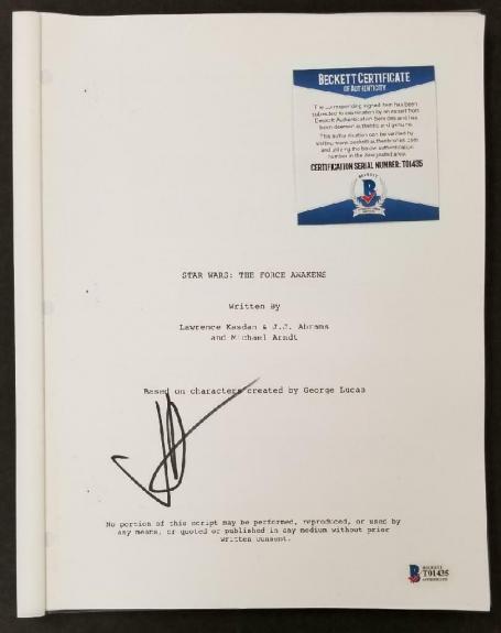 JJ Abrams autograph signed Star Wars The Force Awakens Script E~ Beckett BAS COA