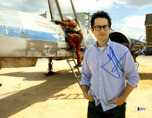 """J.J. Abrams Autographed 11"""" x 14""""- Standing In Front Of Fignter Jet Star Wars The Force Awakens Photograph Beckett COA"""