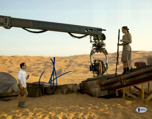 """J.J. Abrams Autographed 11"""" x 14"""" With Daisy Ridley Star Wars The Force Awakens Photograph Beckett COA"""