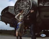 "J.J. Abrams Autographed 8""x 10"" Star Wars: The Force Awakens with Daisy Ridley Behind Ship Photograph - BAS COA"