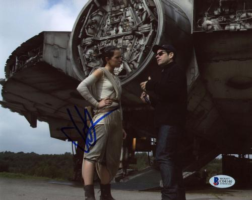"""J.J. Abrams Autographed 8""""x 10"""" Star Wars: The Force Awakens with Daisy Ridley Behind Ship Photograph - BAS COA"""