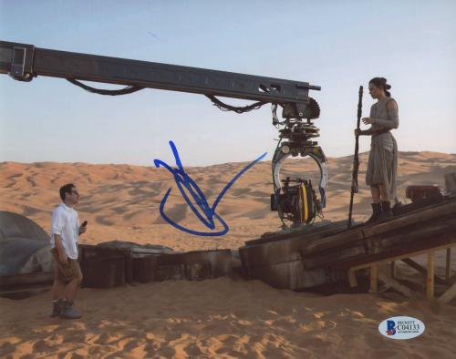 """J.J. Abrams Autographed 8""""x 10"""" Star Wars: The Force Awakens with Daisy Ridley Photograph - BAS COA"""