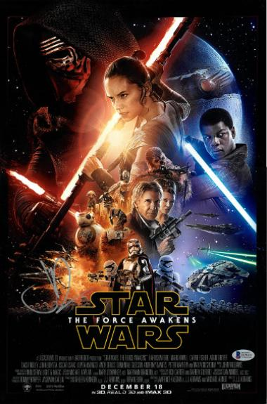 JJ Abrams signed 12x18 Star Wars: The Force Awakens Movie Poster (bottom sig)- Beckett Hologram #D29831