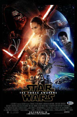 JJ Abrams signed 12x18 Star Wars: The Force Awakens Movie Poster (top sig)- Beckett Hologram #D29832