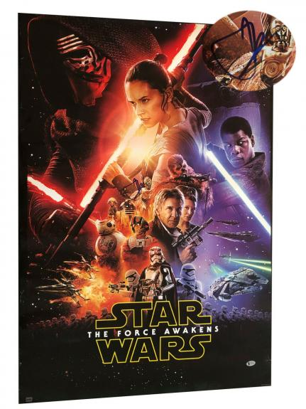 Jj Abrams Signed Auto Star Wars The Force Awakens Fs Movie Poster Beckett Bas 2