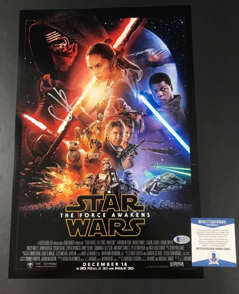 Jj Abrams Signed Autographed Star Wars The Force Awakens 12x18 Poster Bas Coa
