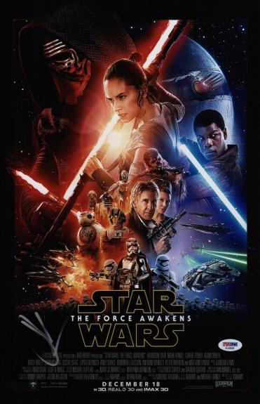 Jj Abrams Signed Star Wars The Force Awakens 11x17 Movie Poster Psa Coa Ad48066