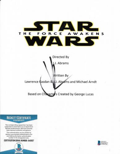 Jj Abrams Star Wars Movie Director Signed 8x10 Script Cover Photo Beckett Coa
