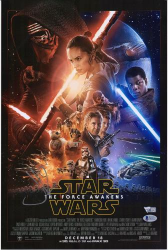 "J.J. Abrams Star Wars The Force Awakens Autographed 12"" x 18"" Movie Poster - BAS"