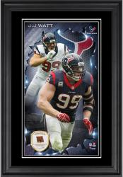 J.J. Watt Houston Texans 10'' x 18'' Vertical Framed Photograph with Piece of Game-Used Football - Limited Edition of 250
