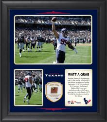 """J.J. Watt Houston Texans Records First NFL touchdown reception 15"""" X 17"""" Collage With Game-Used Football - Limited Edition of 250"""