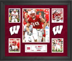 JJ Watt Wisconsin Badgers Framed 5-Photo Collage
