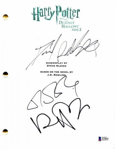 Jk Rowling, Daniel Radcliffe, Ralph Fiennes Signed Autograph Harry Potter Script