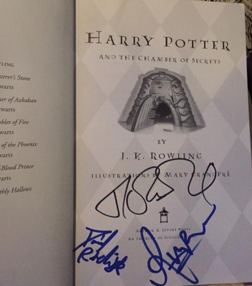 J.k. Rowling Radcliffe Grint Signed Autograph Harry Potter Chamber Secrets Book