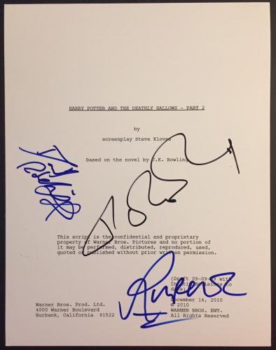 Jk Rowling Radcliffe Grint Signed Autograph Harry Potter Deathly Hallows Script