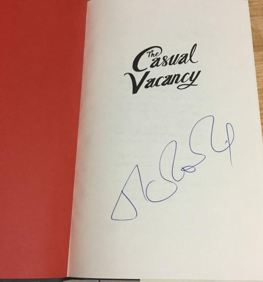 JK ROWLING SIGNED AUTOGRAPH 1st PRINTING EDITION CASUAL VACANCY HARD COVER BOOK