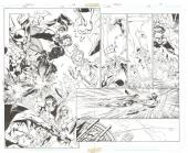 "Jla #50 Page 18 And 19 Double Page Spread Comic Art By Mark Bagley 20""x15.5"