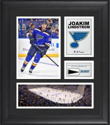 """Joakim Lindstrom St. Louis Blues Framed 15"""" x 17"""" Collage with Piece of Game-Used Puck"""