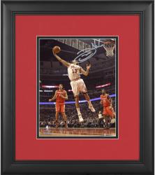 "Joakim Noah Chicago Bulls Framed Autographed 8"" x 10"" Rebounding White Uniform Photograph"