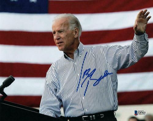 President Joe Biden Signed Autograph 8x10 Photo - 2020 American Flag Beckett