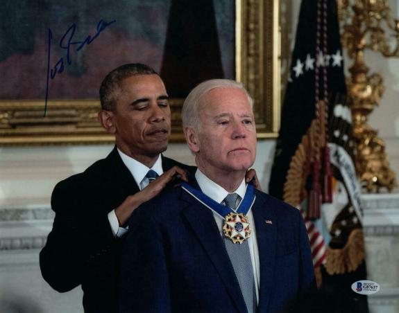 President Joe Biden Signed Autograph 8x10 Photo - W/ Barack Obama, Rare, Beckett