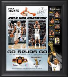 "Tony Parker San Antonio Spurs 2014 NBA Finals Champions Framed 15"" x 17"" Collage with NBA Finals Game-Used Ball-Limited Edition of 250"