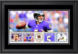 "Joe Flacco Baltimore Ravens Framed 10"" x 18""  Panoramic with Piece of Game-Used Football - Limited Edition of 250"
