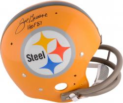 Joe Greene Pittsburgh Steelers Autographed Yellow TK Suspension Helmet with HOF 87 Inscription
