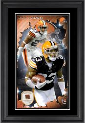 Joe Haden Cleveland Browns 10'' x 18'' Vertical Framed Photograph with Piece of Game-Used Football - Limited Edition of 250