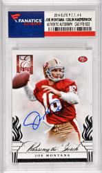 Joe Montana / Colin Kaepernick San Francisco 49ers Autographed 2014 Elite Passing The Torch #6 Card