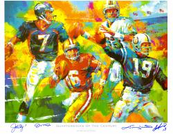 Joe Montana, Dan Marino, John Elway and Johnny Unitas Quarterbacks of the Century Autographed Lithograph
