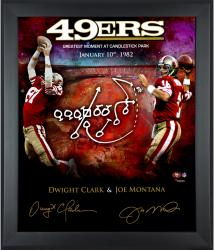 "Joe Montana & Dwight Clark San Francisco 49ers Autographed 20"" x 24"" In Focus ""The Catch"" Photograph"