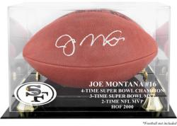 Joe Montana Hall of Fame 2000 Golden Classic Football Logo Display Case with Mirror Back