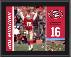 San Francisco 49ers Joe Montana 10.5'' x 13'' Sublimated Plaque - Mounted Memories