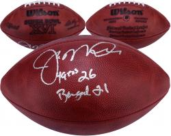 "Joe Montana San Francisco 49ers Autographed Super Bowl XVI Logo Football with ""49ers 26 - Bengals 21"" Inscription"