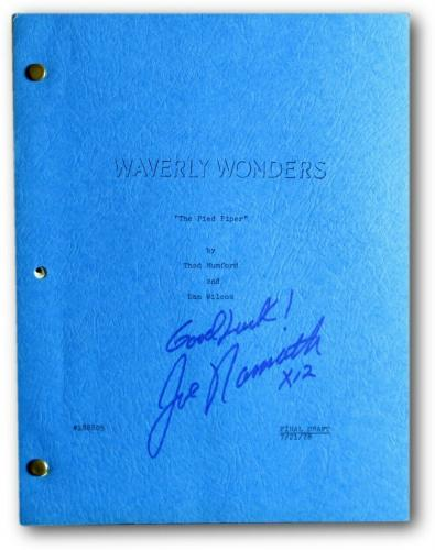 "Joe Namath Signed Autographed TV Script Waverly Wonders ""Good Luck"" JSA V68008"