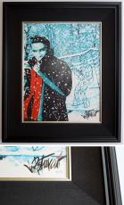 Joe Petruccio Signed - Autographed Elvis Presley Limited Edition #10/95 Giclee Canvas Print - Wood Frame measures 26x22 inches - Custom Framed