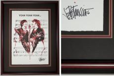 Joe Petruccio Signed - Autographed The Beatles - Paul McCartney - John Lennon Limited Edition Fine Art Giclee Lithograph Print - Mahogany/Black Frame measures 29x23 inches - Custom Framed