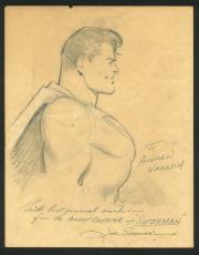"Joe Shuster ""Best Wishes"" Signed Superman Original Art Sketch BAS"
