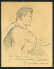"Joe Shuster ""Best Wishes"" Signed Superman Original Art Sketch BAS"