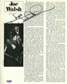 Autographed Joe Walsh Photo - Eagles 8x10 Magazine Certified PSA DNA COA
