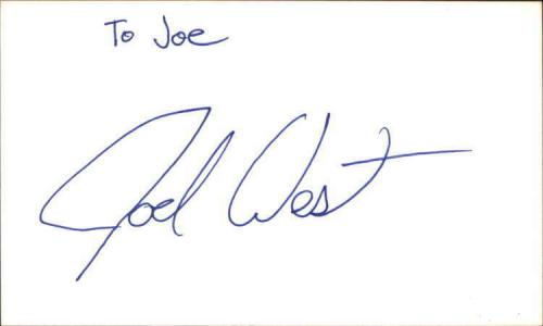 """JOEL WEST CSI MIAMI Signed 3""""x5"""" Index Card"""