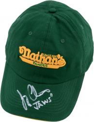 "Joey Chestnut Autographed Nathans Cap with ""Jaws"" Inscriptions"