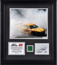 "Joey Logano 2013 Pure Michigan 400 Framed 8"" x 10"" Photograph with Autographed Card & Race-Used Flag - Limited Edition of 122"