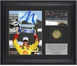 Joey Logano 2013 Pure Michigan 400 Race Winner Framed 2-Photograph Collage with Gold-Plated Coin - Limited Edition of 322 - Mounted Memories