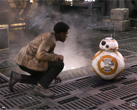"John Boyega & Brian Herring Star Wars The Force Awakens Autographed 16"" x 20"" Finn & BB-8 Photograph - Topps Authentic"