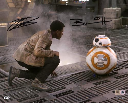 """John Boyega & Brian Herring Star Wars The Force Awakens Autographed 8"""" x 10"""" Finn & BB-8 Photograph Signed in Black - Topps Authentic"""