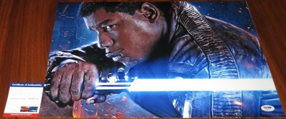 John Boyega Signed 12x18 Star Wars The Force Awakens Finn Lightsaber PSA/DNA