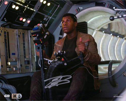 "John Boyega Star Wars The Last Jedi Autographed 8"" x 10"" Finn Flying Photograph - Topps Authentic"
